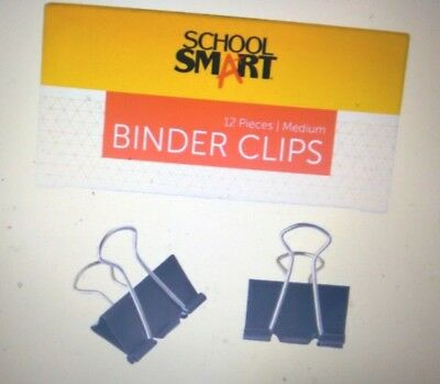 School Smart Binder Clip, 1-1/4 Inches, Medium, Pack of 12
