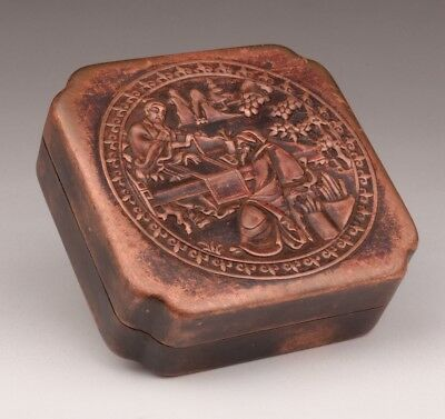 Valuable Red Copper Seal Box Old Engraver Poet Calligraphy Retro