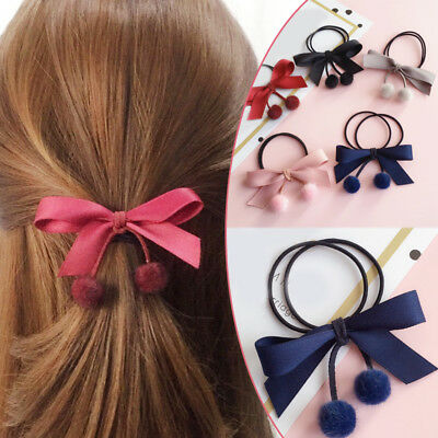 Womens Ribbon Hair Rope Bowknot Pompom Hair Ties Elastic Band Girl Accessories