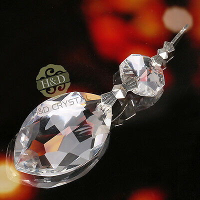 Clear Chandelier Glass Crystals Lamp Prisms Parts Hanging Marquise Pendants 38mm
