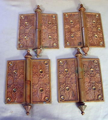 "(4) Antique Eastlake Victorian Brass 5""x5"" Egyptian Revival Door HINGES 1869 EX"