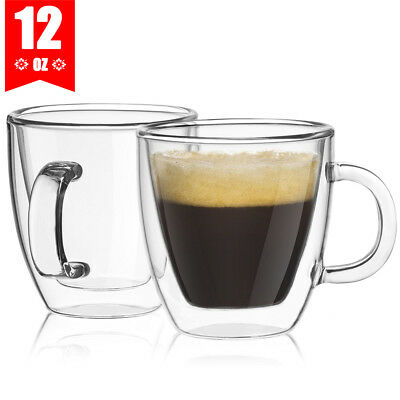 5X 350ML Glass Coffee Mug Clear Double Wall Insulated Thermal Tea Cup Drinking