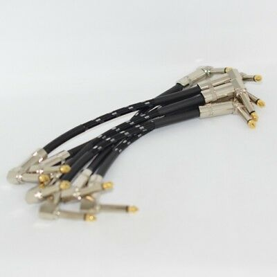 "6 X PACK Patch Cable 5"" Cord 1/4 Right Angle Mono Guitar Pedal Board Cable C6"