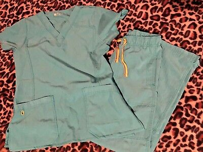 Women's Wonderwink Scrub Top 6214 & Cargo  Pant Four Stretch 5214 Aruba Blue Xs
