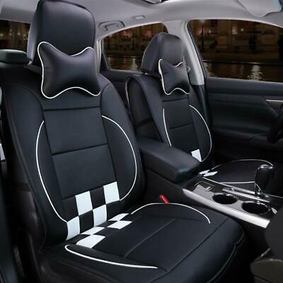 Universal All Seasons PU Leather Car Seat Cushion Cover Black&White Set 10Pcs