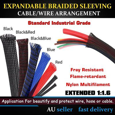 Nylon Expandable Braided Sleeving Cable Guard Fray Resistant Wire Sleeve Wrap 1M