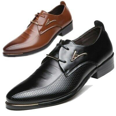 Men's Leather Shoes Dress Business Oxford Formal Lace Up Pointy Toe Wedding Prom