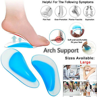 Orthotic Heel Support Massaging Cushion Gel Pad Pain Relief Foot Shoe Insoles UK