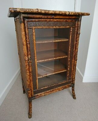 Antique Victorian Bamboo Glazed Cabinet Cupboard