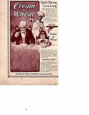 1895 CREAM OF WHEAT Cereal  Vintage Print Ad