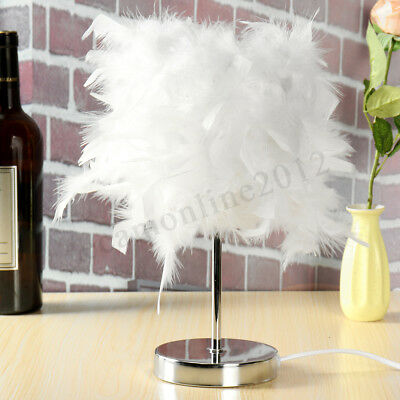 Feather Shade Metal Home Table Lamp Bedside Desk Night Light Living Room Decor