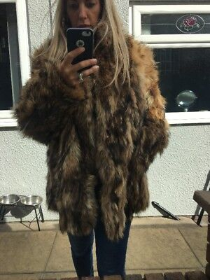 Ladies Real Coyote Fox  Real Fur Coat Jacket Uk 10/12