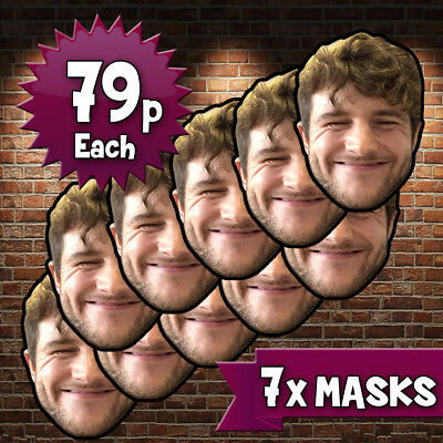 7 x Personalised Create Your Own DIY Photo Face Masks Custom Party Photo Masks