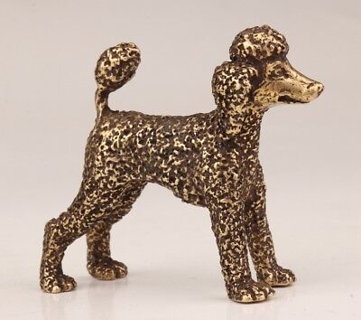 Valuable Chinese Bronze Statue Old Poodle Dog Solid Casting Handicraft Collec