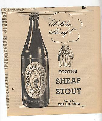 Tooth Sheaf Stout Beer Advertisement removed from 1947 Australian Newspaper
