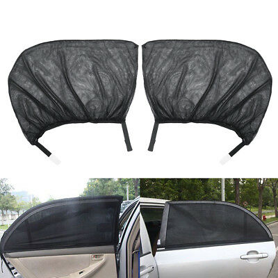 2Pcs Window Sun Shade Mesh Cover UV Protector Shield Curtain Black For Car Auto