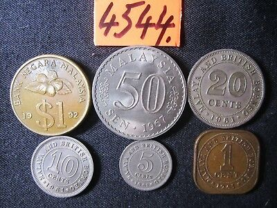 6 x assorted  coins from Malaysia/Malaya/British Borneo  Mar4544    40 gms