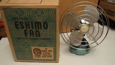 "Vintage DECO 8"" ESKIMO MODEL 081002 with /box AQUA BLUE ELECTRIC DESK table FAN"