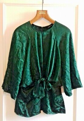 7dbec2592e Zara Dark Emerald Green Tie Front Japanese Top Size XS 8 Brand New with Tags