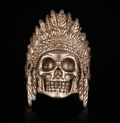 Rare Tibetan Silver Hand-Made Skull Statue Ring Old Presents Wedding Ring Cool