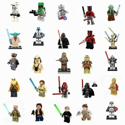 Star Wars Minifigures Jedi Darth Vader Yoda Kylo Ren Sith Clone Jaja Ewok Blocks