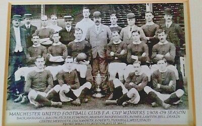 Genuine Vintage Manchester United 1909 Fa Cup Winners Original Photocard