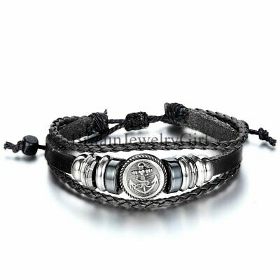 Men's Jewelry Fashion Leather Anchor Charm Wrap Cuff Bracelet Wristband Gift