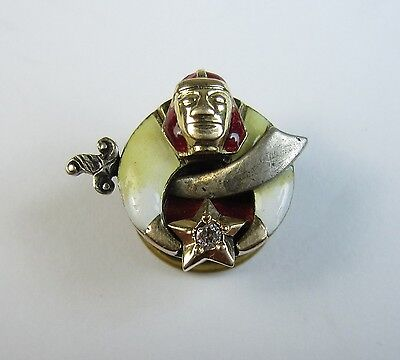 10k Gold & Diamond Masonic Shriners Sphinx Stud Collar Pin 5.1-g