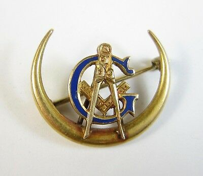 Antique Masonic G Compass 14k Gold & Enamel Pin w/ Crescent 2-g