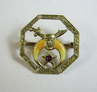 Antique Masonic Shriners Enamel & 10k Gold Octagon Pin - 1.4-g