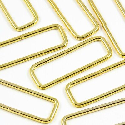 40mm 1 5/8 inch Gold/Chrome Narrow Rectangular Loop for Bag Making Leathercraft