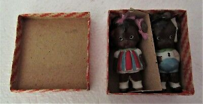 Vintage Black Americana Pair of Bisque Dolls JAPAN Mint in Original Box