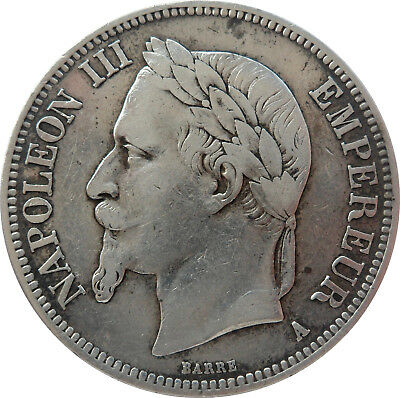 French Coin, 1869 A, Paris Mint, 5 Francs Silver, Napoleon Iii, Grade Xf++