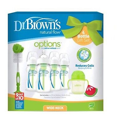 Dr Brown Natural Flow Anti-Colic Vent Bottle, Beaker and Teether Set. Green 3220