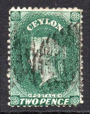 Ceylon 2 Pence Bottle Green? Stamp c1863-66 Fine Used
