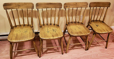4 Antique Farmhouse Side Chairs - Shabby Chic