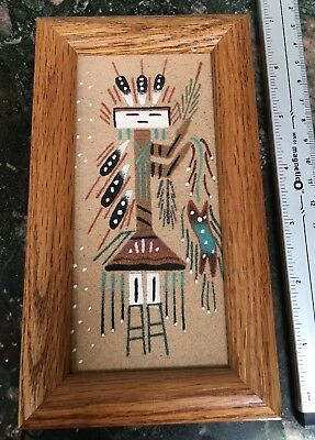 "1970's Healing Man Navajo Sand-painting From AZ. 4x7"" Framed"