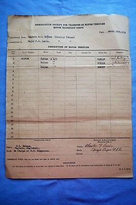 WWI Era Motor Transport Corps Transfer Document for Indian Motorcycles (C)