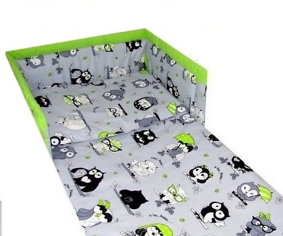 3pc bedding set BUMPER padded filled +QUILT COVERS for cot / cot bed GREY OWLS