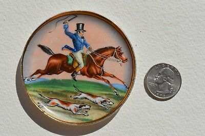 """Beautiful Antique Painted Porcelain Miniature Change &thing Dish/tray """" Hunting"""""""