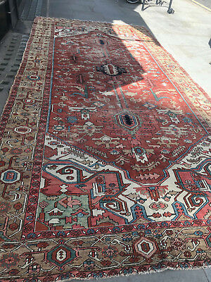 Antique Traditional Hand Made Persian Oreintal Wool Red Heriz Large Carpet Rug