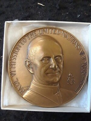 Medical Art Co 1965 Pope Paul VI Mission To The United Nations Bronze Medal