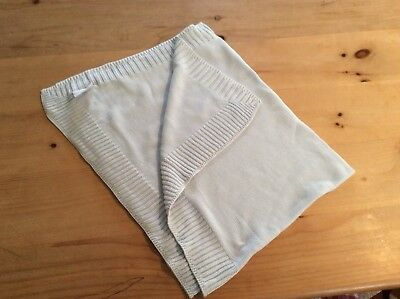 The Little White Company knitted baby blue baby blanket 100% cotton