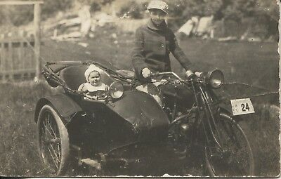 Real Photo Postcard RPPC Woman & Baby on Motorcycle Clallam County Wash 1920