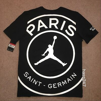 Nike Air Jordan X Paris Saint Germain PSG - T Shirt / Crew Shirt  | Black | Sz L