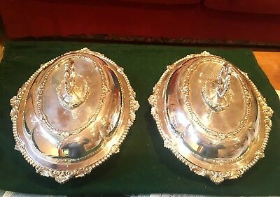 Pair of Antique Silver plated serving dishes with lids by Benetfink & son