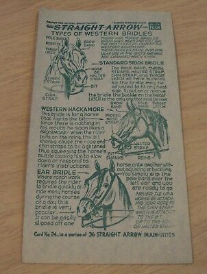 "1952 NABISCO Promo/Premium Card #24 ""STRAIGHT ARROW"" Western HORSE Bridles"