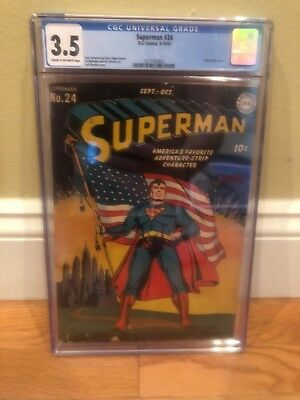 Superman #24 Comic CGC Graded 3.5 Classic Flag Cover