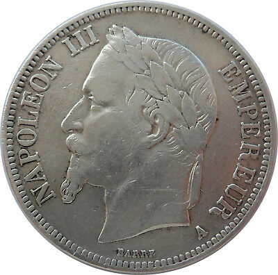 French Coin, 1868 A, Paris Mint, 5 Francs Silver, Napoleon Iii, Grade Xf++