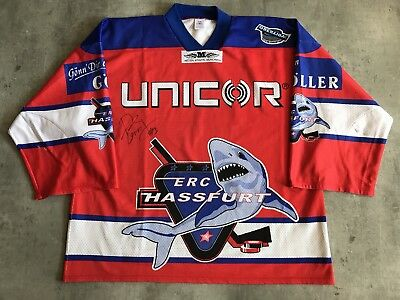 ERC Haßfurt Unicorn Sharks 99 00 Game Worn Jersey  13 Dave Tremblay - Canada db75ad3d3
